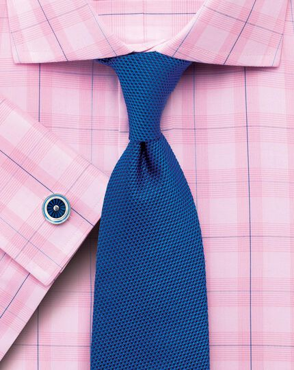 Classic fit semi-cutaway collar Prince of Wales check pink shirt