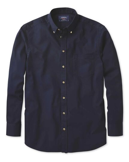 Extra slim fit non-iron twill navy shirt
