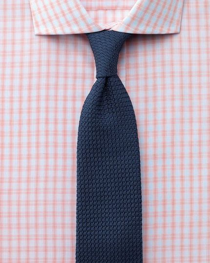 Slim fit spread collar Egyptian cotton compact check orange shirt