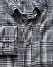 Classic fit navy and brown check tweed look shirt
