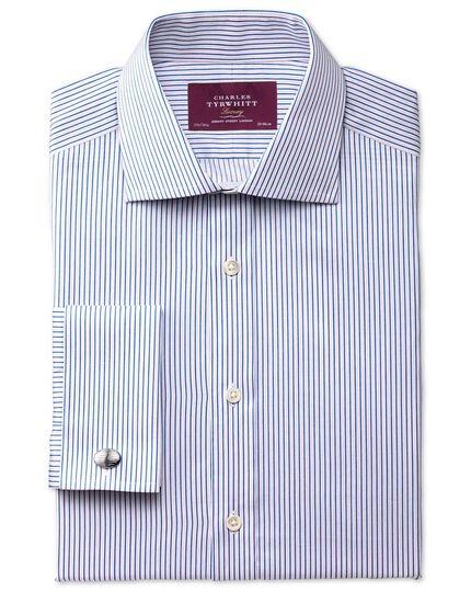 Slim fit semi-spread collar luxury poplin blue shirt