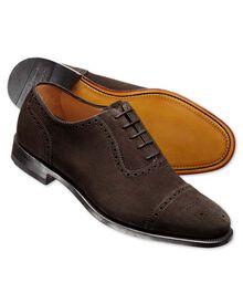 Brown Earlham suede top cap brogue shoes