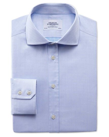 Extra slim fit spread collar Egyptian cotton textured dobby sky blue shirt