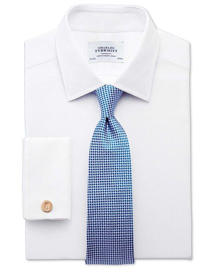 Extra slim fit Egyptian cotton diamond texture white shirt