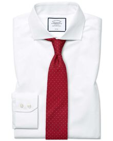 Extra slim fit cutaway collar non-iron poplin white shirt