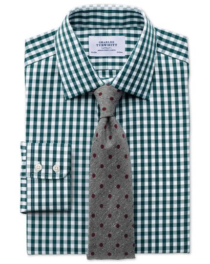 Slim fit non-iron Oxford gingham green shirt