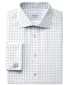 Extra slim fit semi-cutaway collar textured gingham grey shirt