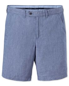 Slim Fit Baumwolle / Leinen Shorts in blau