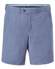 Blue slim fit cotton linen shorts