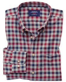 Extra slim fit button-down non-iron twill red and navy blue gingham shirt