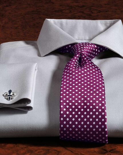 Magenta and white silk classic Oxford spot tie