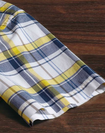 Classic fit poplin short sleeve navy and yellow check shirt
