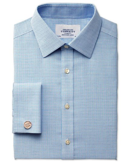 Slim fit non-iron textured blue check shirt