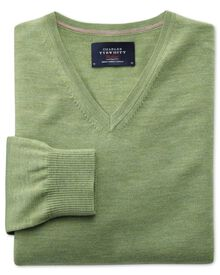 Light green merino wool v-neck sweater