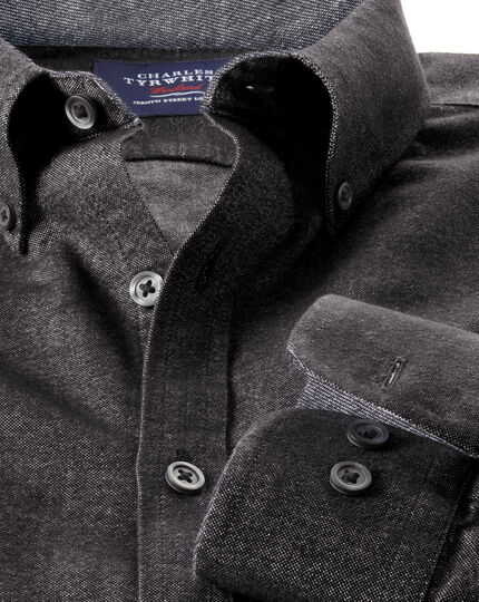 Slim fit grey washed Oxford shirt
