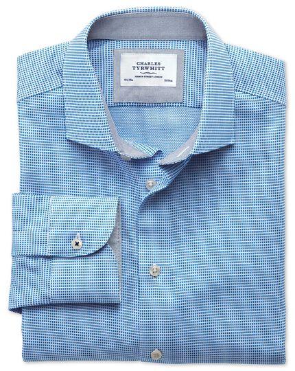 Classic fit semi-cutaway collar business casual textured blue shirt