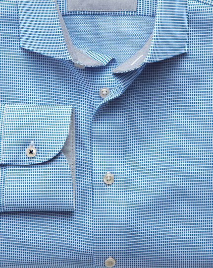 Classic fit semi-cutaway collar business casual textured blue shirt