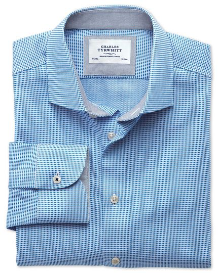 Slim fit semi-cutaway collar business casual textured blue shirt