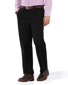 Black classic fit single pleat non-iron chinos