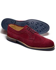 Burgundy Colville suede wing tip brogue shoes