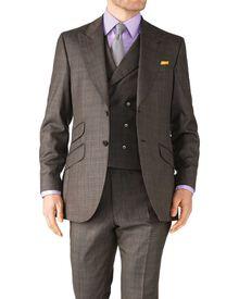 Slim Fit Luxusanzug Sakko aus Britisch-Panama-Gewebe in braun mit Karos