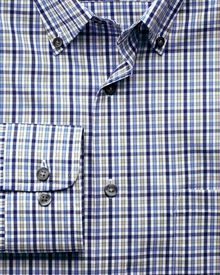 Slim fit non-iron poplin blues multi check shirt