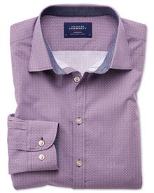 Classic Fit Hemd in Magenta und Blau mit Print