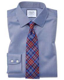 Slim fit non-iron twill mid blue shirt