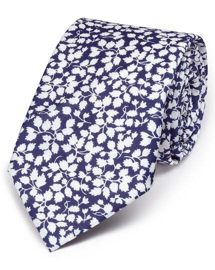 Navy and white cotton luxury Italian floral slim tie