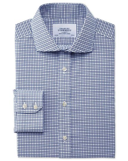 Slim fit spread collar non-iron dobby check navy shirt