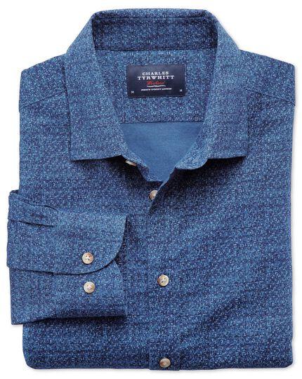 Classic fit blue print shirt