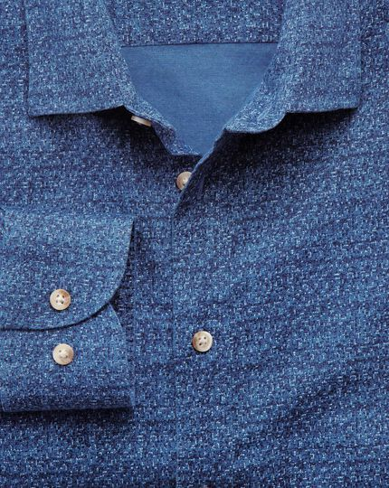 Extra slim fit blue print shirt