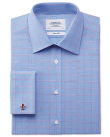 Slim fit Prince of Wales check pink satin shirt