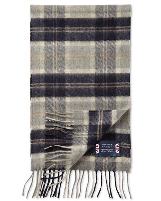 Navy check cashmere scarf
