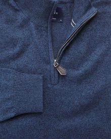 Indigo cotton cashmere zip neck jumper