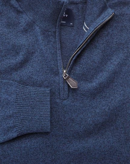 Indigo cotton cashmere zip neck sweater