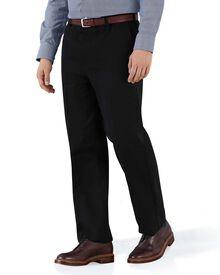Bügelfreie Classic Fit Chino Hose ohne Bundfalte in Schwarz