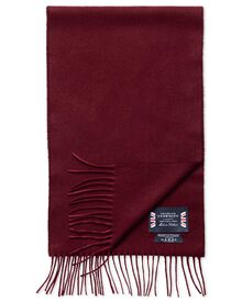 Burgundy herringbone cashmere and merino scarf