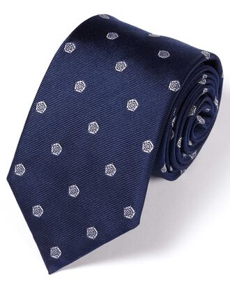 Navy and white silk English rose classic tie