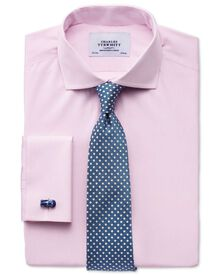 Extra slim fit spread collar end-on-end pink shirt