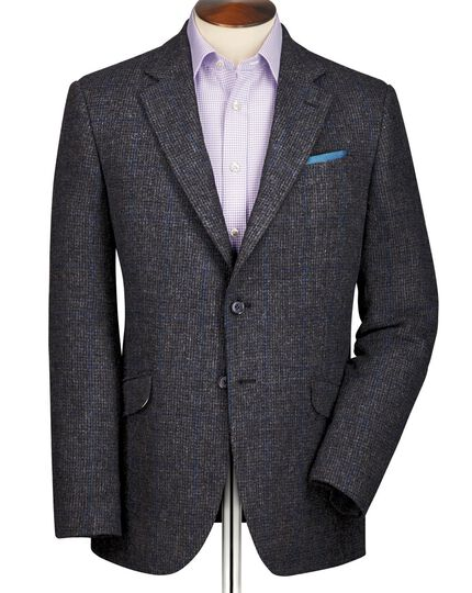 Grey classic fit windowpane British tweed jacket
