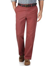 Light red classic fit flat front chinos