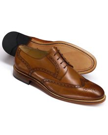 Tan Mornington wingtip brogue Derby co-respondent shoes