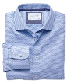 Extra slim fit semi-spread collar business casual double-faced sky blue shirt