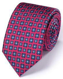 Slim dark pink silk classic floral tie