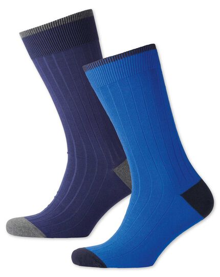 Navy and royal blue ribbed 2 pack socks