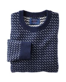 Navy and white birdseye sweater