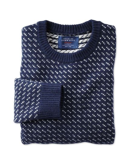 Navy and white birdseye sweater