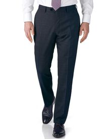 Airforce blue slim fit end-on-end business suit trousers