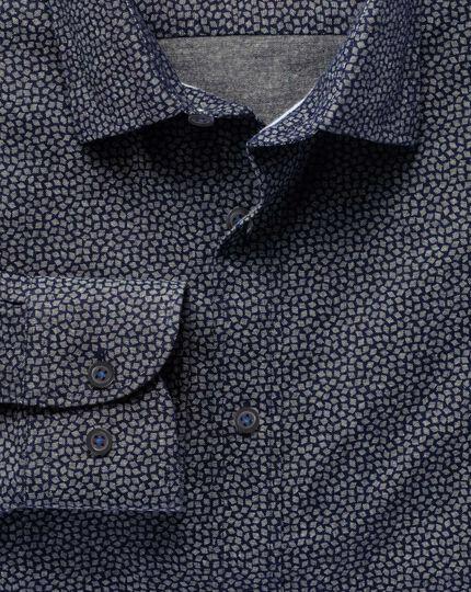 Extra slim fit navy diamond print shirt
